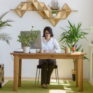 Woman working at modern office